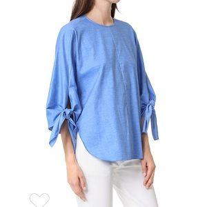 Tibi • Sophia Tie Top in Brilliant Denim Blue